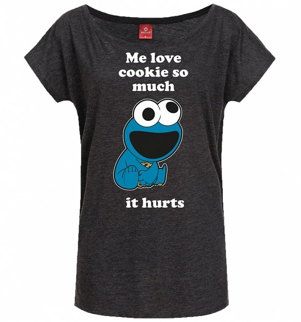 Women's Charcoal Marl Sesame Street Cookie Monster Love Cookie Slouch T-Shirt