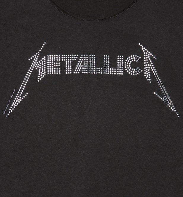 Women's Charcoal Metallica Silver Diamante T-Shirt from Amplified