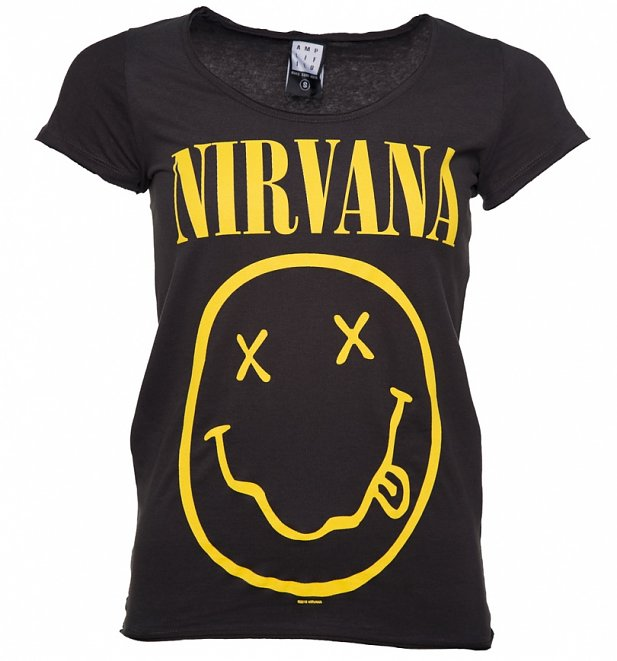 Women's Charcoal Nirvana Smiley T-Shirt from Amplified
