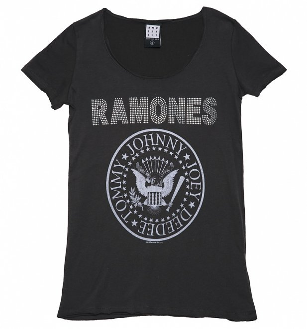 Women's Charcoal Ramones Silver Diamante T-Shirt from Amplified