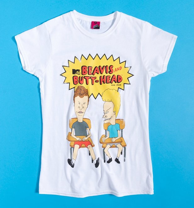 Women's Classic Beavis And Butt-Head White Fitted T-Shirt
