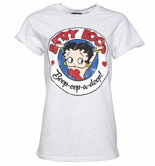 Women's Classic Betty Boop Ash Grey Boyfriend Fit T-Shirt With Rolled Sleeves