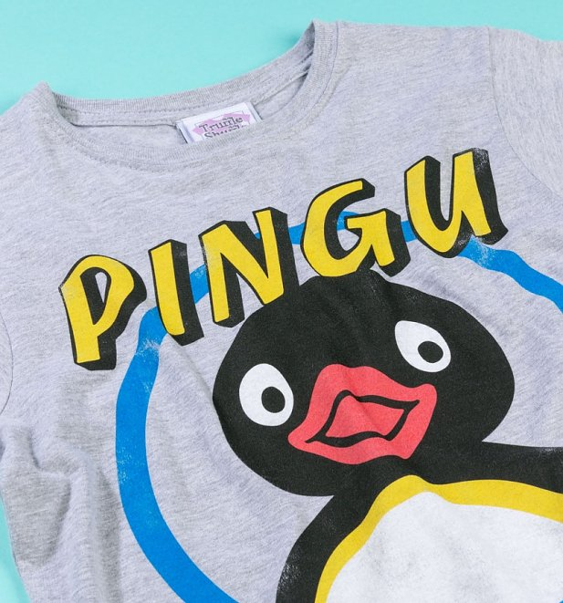 Women's Classic Pingu Grey Marl Fitted T-Shirt