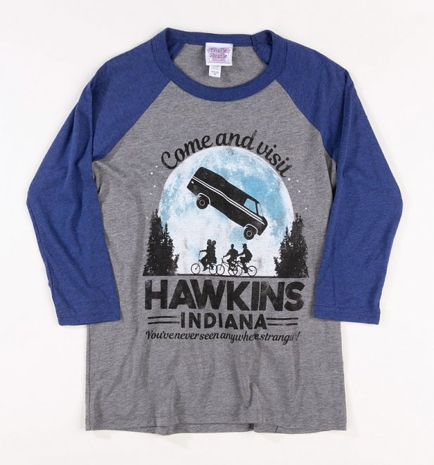 Women's Come Visit Hawkins Indiana Stranger Things Inspired Baseball T-Shirt