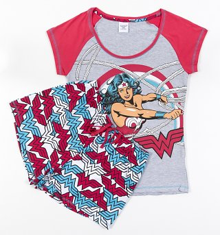 Women's DC Comics Wonder Woman Action Pose Shortie Pyjamas