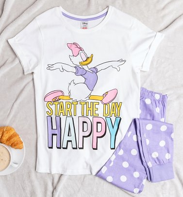 Women's Daisy Duck Start The Day Happy Pyjamas