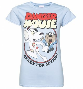 Women's Danger Mouse Ready For Action Light Blue T-Shirt