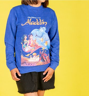 Women's Disney Aladdin Video Cover Heather Royal Sweater