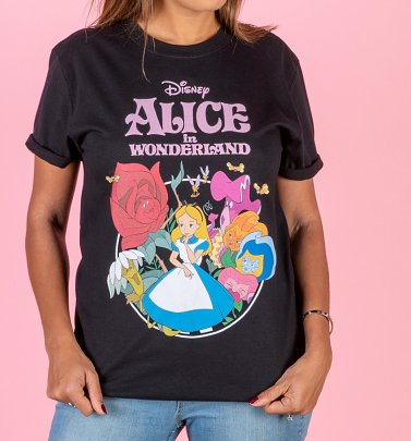 PENDING APPROVAL VIA POETIC Women's Disney Alice In Wonderland Black Boyfriend T-Shirt