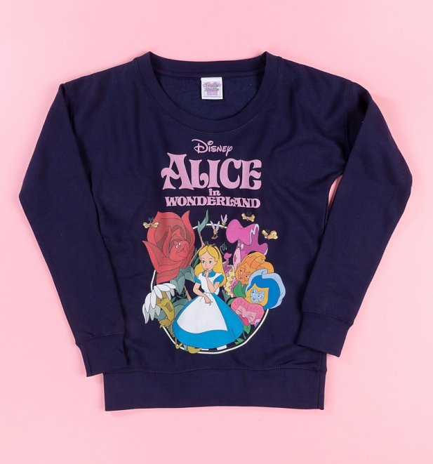 Women's Disney Alice In Wonderland Navy Fitted Sweater