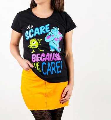 Women's Disney Black We Scare Because We Care Monsters Inc T-Shirt