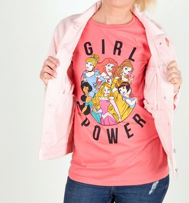 Women's Disney Princess Girl Power Rolled Sleeve Boyfriend T-Shirt
