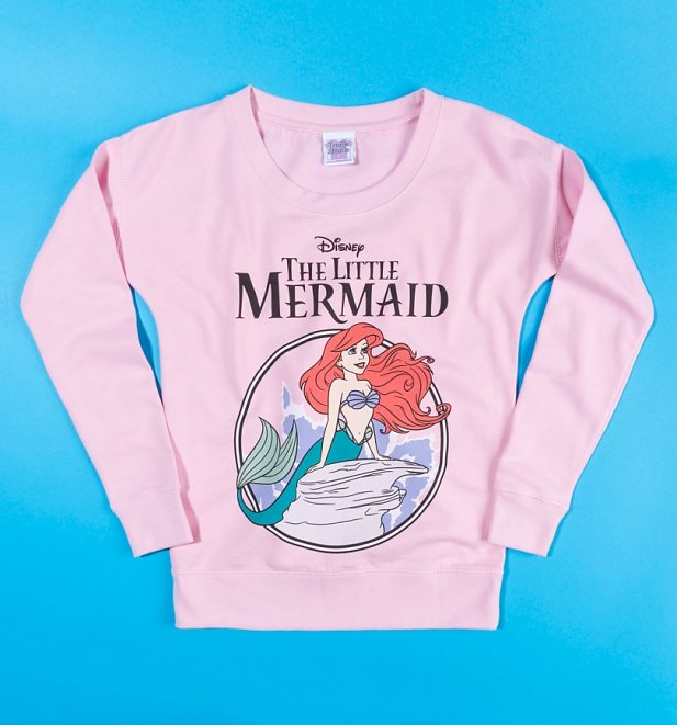 Women's Disney The Little Mermaid Baby Pink Fitted Sweater