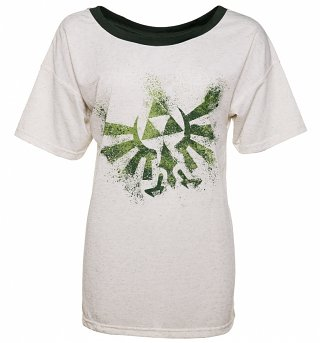 Women's Ecru Legend Of Zelda Triforce Off The Shoulder Slouchy T-Shirt