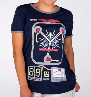 Women's Flux Capacitor Navy And Grey Ringer T-Shirt