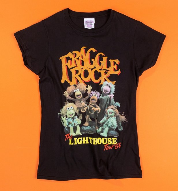 Women's Fraggle Rock Lighthouse Tour Black Fitted T-Shirt