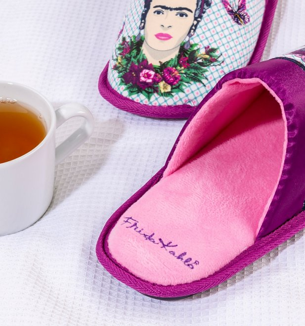 Women's Frida Kahlo Violet Bouquet Slippers