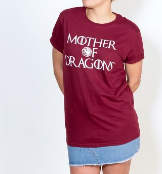 Women's Game Of Thrones Inspired Mother Of Dragons Maroon Boyfriend Fit Rolled Sleeve T-Shirt