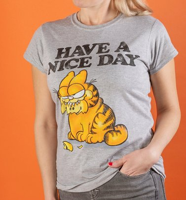 Women's Garfield Have A Nice Day Grey Marl Fitted T-Shirt