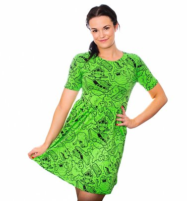 Women's Ghostbusters Slimer Dress from Cakeworthy