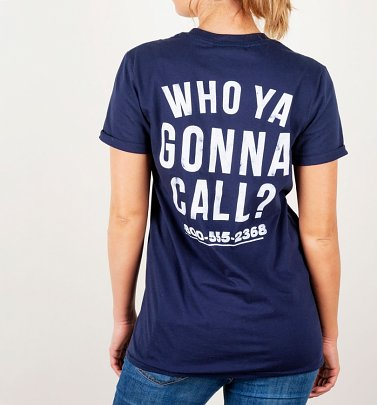 Women's Ghostbusters Who Ya Gonna Call Back Print Navy Boyfriend Fit Rolled Sleeve T-Shirt