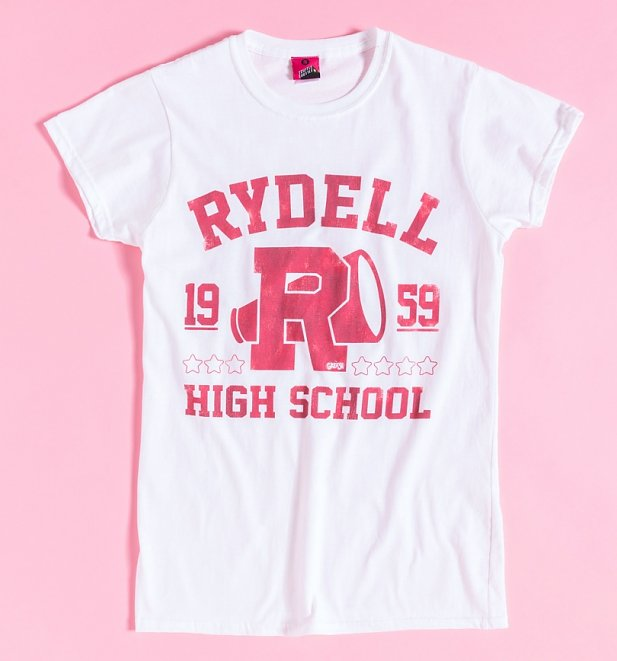 Women's Grease Rydell High School Athletic White Fitted T-Shirt