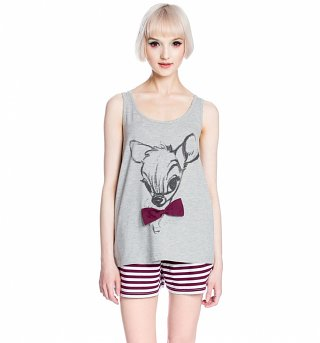 Women's Grey Marl And Stripe Disney Bambi Sketch Shortie Pyjamas