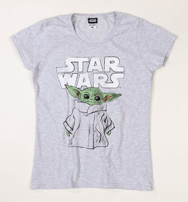 Women's Grey Marl Baby Yoda Star Wars Mandalorian Fitted T-Shirt