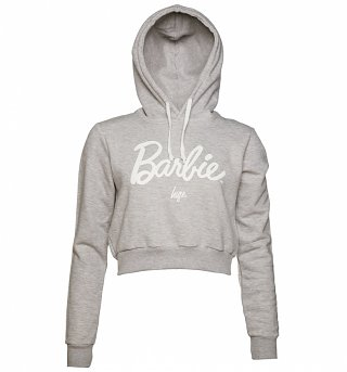 Women's Grey Marl Barbie Logo Cropped Hoodie from Hype