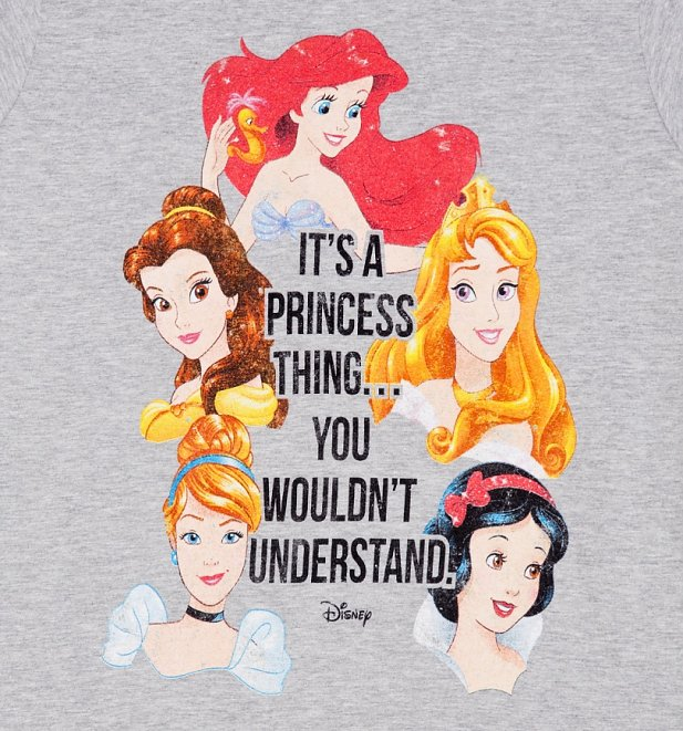 Women's Grey Marl Disney It's A Princess Thing Fitted T-Shirt