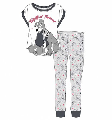 Women's Grey Marl Lady And The Tramp Together Forever Disney Pyjamas