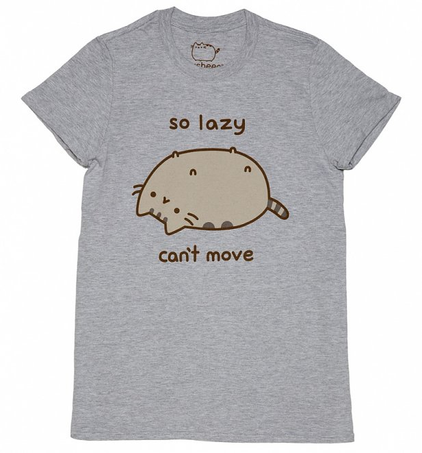 Women's Grey Marl Pusheen So Lazy Can't Move Boyfriend T-Shirt