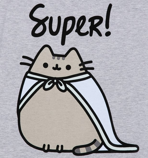 Women's Grey Marl Super Pusheen Rolled Sleeve Boyfriend T-Shirt