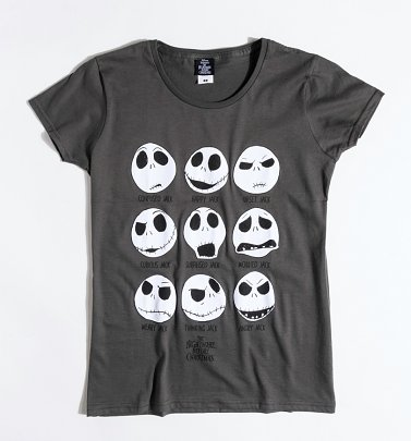 Women's Grey Nightmare Before Christmas Jack Skellington Faces Fitted T-Shirt