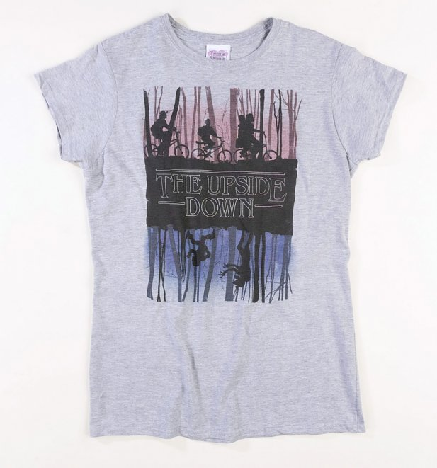 Women's Grey Stranger Things Inspired Upside Down Fitted T-Shirt