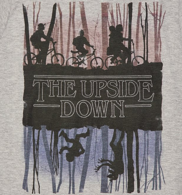 Women's Grey Stranger Things Inspired Upside Down T-Shirt