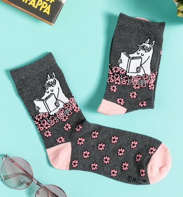 Women's Grey and Women's Pink Snorkmaiden Reading Moomin Socks