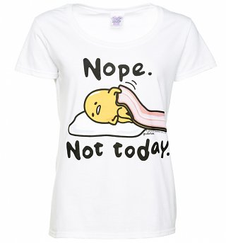 Women's Gudetama Nope Not Today White Scoop Neck T-Shirt