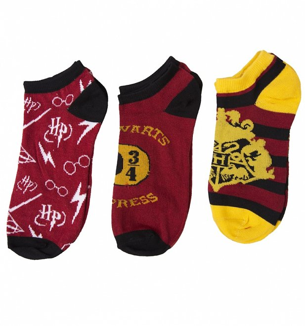 Women's Harry Potter Pack Of Three Trainer Socks