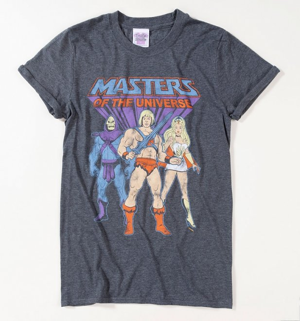 He-Man, She-Ra and Skeletor Dark Heather Boyfriend Fit Rolled Sleeve T-Shirt