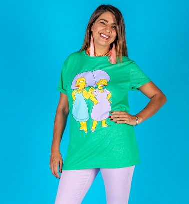 Women's Heather Green The Simpsons Patty and Selma Rolled Sleeve Boyfriend T-Shirt
