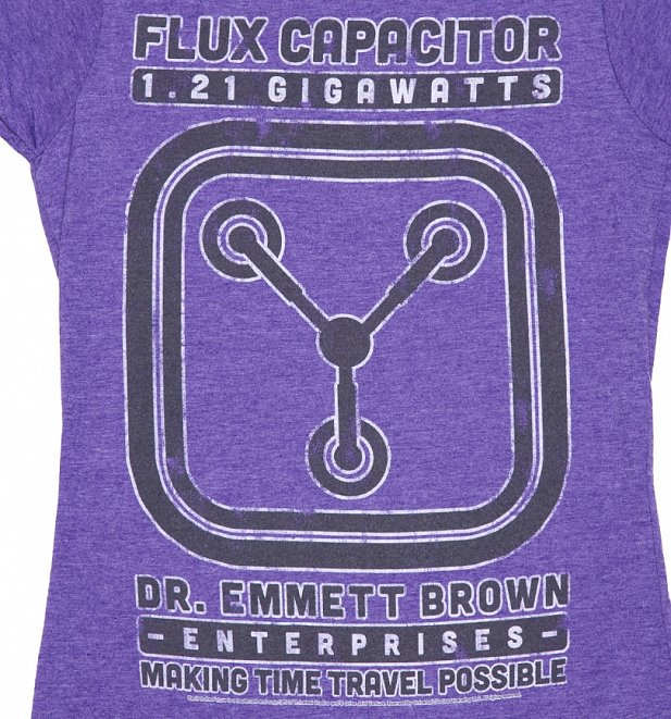 Women's Heather Purple Schematic Back To The Future Flux Capacitor T-Shirt