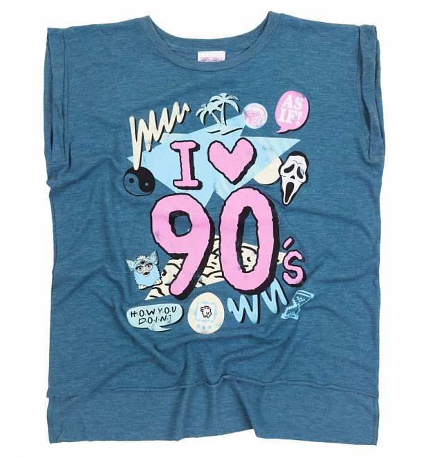 Women's I Heart 90s Heather Teal Flowy T-Shirt With Rolled Cuffs