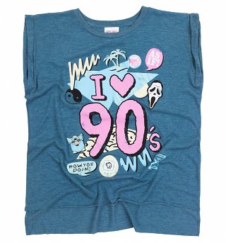 Women's I Heart 90s Heather Teal Flowy T-Shirt