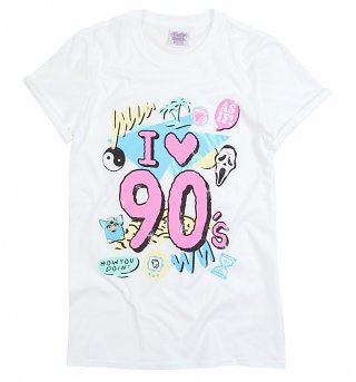 Women's I Heart 90s White Boyfriend Fit Rolled Sleeve T-Shirt