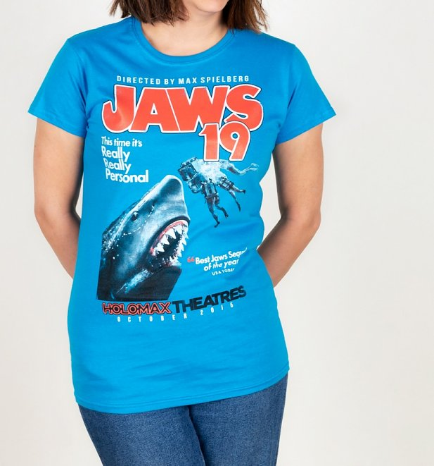 Jaws 19 Movie Poster Sapphire T-Shirt