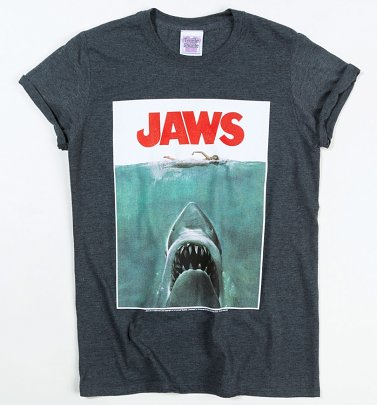 Women's Jaws Shark Rolled Sleeve Boyfriend T-Shirt