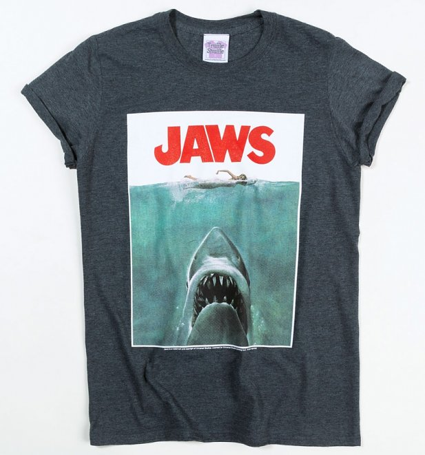 Jaws Shark Rolled Sleeve Boyfriend T-Shirt