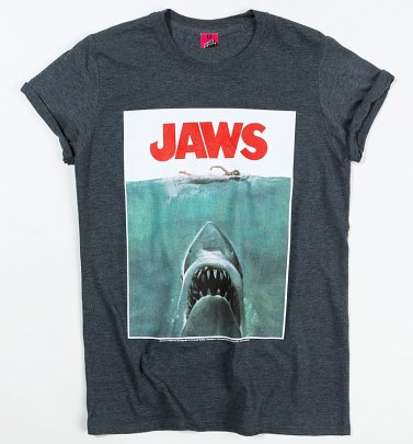 Women's Jaws Shark Dark Heather Boyfriend Fit Rolled Sleeve T-Shirt