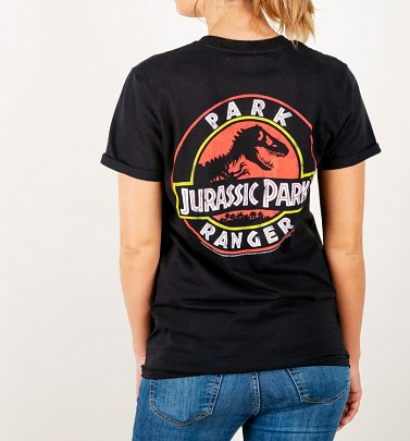 Women's Jurassic Park Ranger Back Print Black Boyfriend Fit Rolled Sleeve T-Shirt